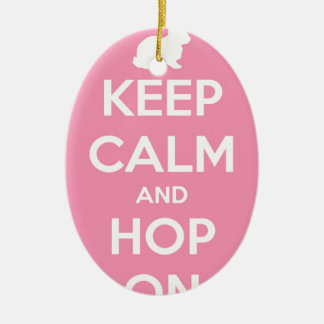 Keep Calm and Hop On Pink and White Ceramic Ornament