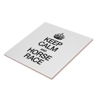 KEEP CALM AND HORSE RACE CERAMIC TILES