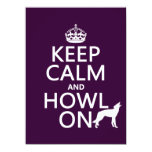 Keep Calm and Howl On (wolves) (any color) Custom Invite