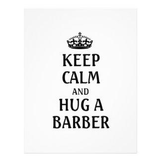 Keep calm and hug a barber letterhead