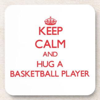 Keep Calm and Hug a Basketball Player Beverage Coasters