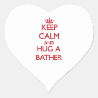 Keep Calm and Hug a Bather Heart Sticker