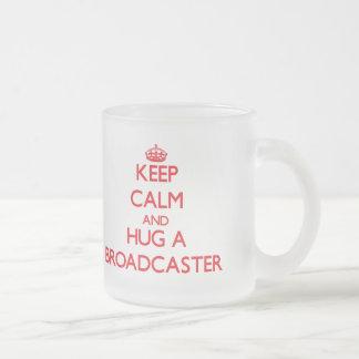 Keep Calm and Hug a Broadcaster 10 Oz Frosted Glass Coffee Mug