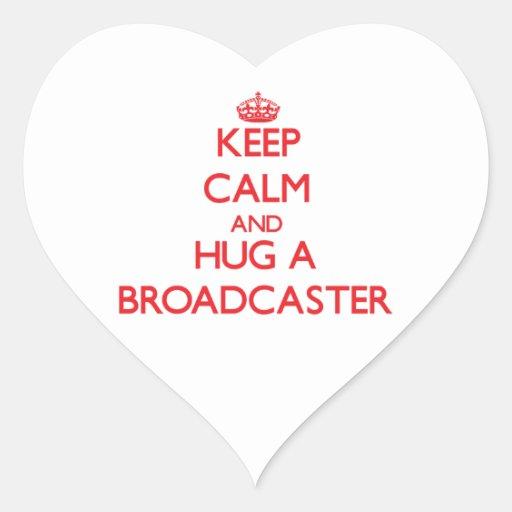 Keep Calm and Hug a Broadcaster Heart Sticker