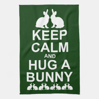 Keep Calm and Hug a Bunny Kitchen Towel (Dk Green)