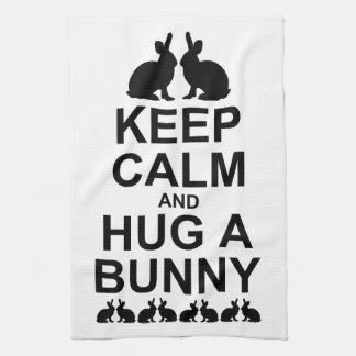 Keep Calm and Hug a Bunny Kitchen Towel (White)