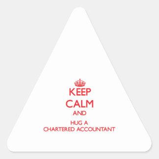 Keep Calm and Hug a Chartered Accountant Triangle Sticker