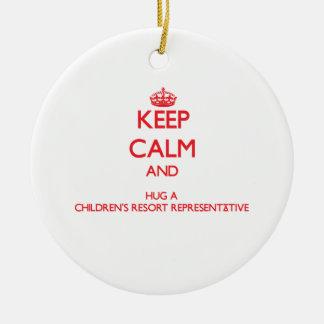 Keep Calm and Hug a Children's Resort Representati Christmas Tree Ornaments