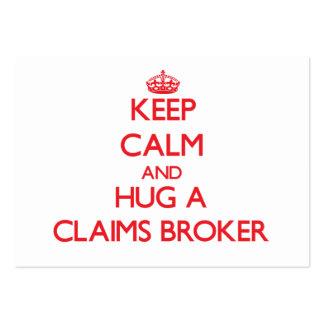 Keep Calm and Hug a Claims Broker Business Card Templates