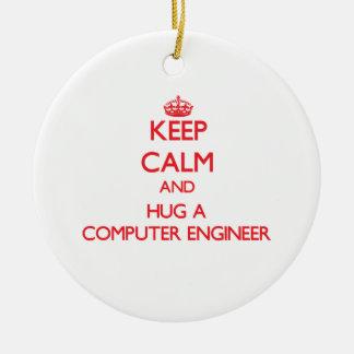 Keep Calm and Hug a Computer Engineer Christmas Tree Ornament