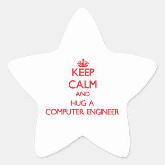 Keep Calm and Hug a Computer Engineer Star Sticker