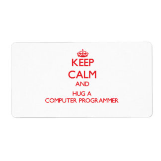 Keep Calm and Hug a Computer Programmer Shipping Label