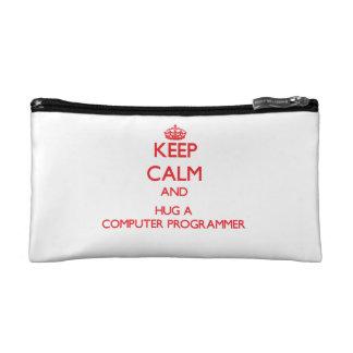 Keep Calm and Hug a Computer Programmer Makeup Bag