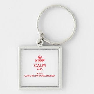 Keep Calm and Hug a Computer Software Engineer Keychains