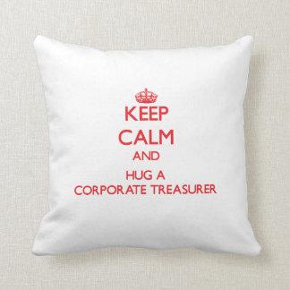 Keep Calm and Hug a Corporate Treasurer Throw Pillows