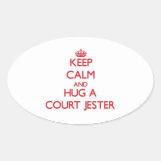 Keep Calm and Hug a Court Jester Oval Sticker