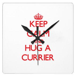 Keep Calm and Hug a Currier Square Wall Clocks