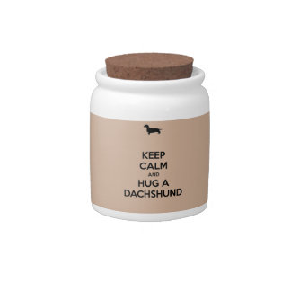 Keep Calm and Hug a Dachshund Candy Dishes