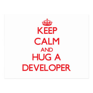 Keep Calm and Hug a Developer Post Card