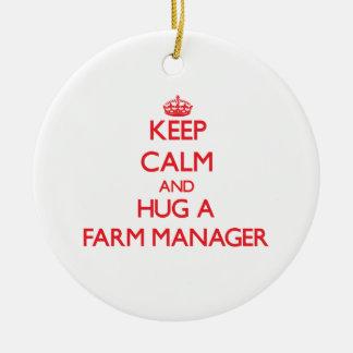 Keep Calm and Hug a Farm Manager Christmas Tree Ornament