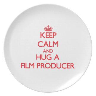 Keep Calm and Hug a Film Producer Dinner Plate