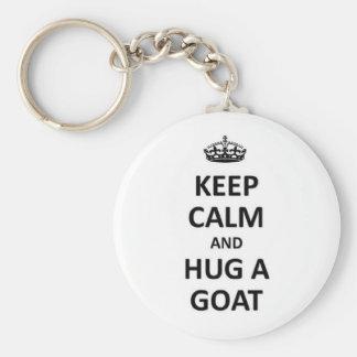 Keep calm and hug a Goat Key Chains