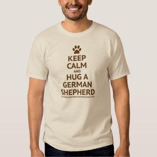 Keep Calm and Hug a GSD - Brown Text Tshirts