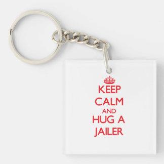 Keep Calm and Hug a Jailer Single-Sided Square Acrylic Keychain