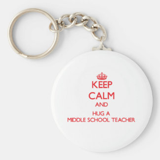 Keep Calm and Hug a Middle School Teacher Basic Round Button Keychain