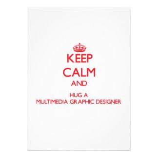 Keep Calm and Hug a Multimedia Graphic Designer Card