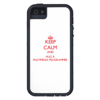 Keep Calm and Hug a Multimedia Programmer iPhone 5 Case