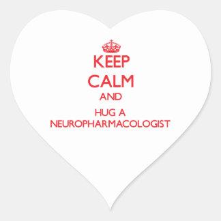 Keep Calm and Hug a Neuropharmacologist Heart Sticker