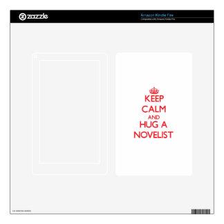 Keep Calm and Hug a Novelist Decal For Kindle Fire