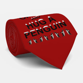 Keep Calm and Hug a Penguin Tie (Red)
