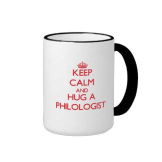 Keep Calm and Hug a Philologist Ringer Coffee Mug