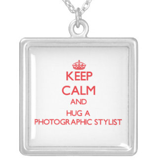 Keep Calm and Hug a Photographic Stylist Square Pendant Necklace