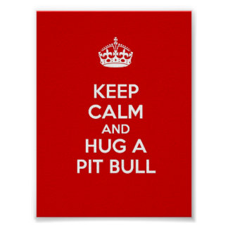 Keep Calm and Hug a Pit Bull Poster