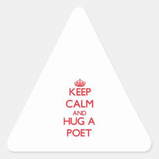 Keep Calm and Hug a Poet Triangle Sticker