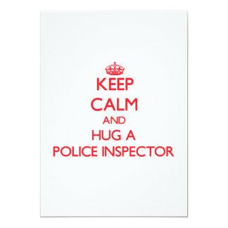 Keep Calm and Hug a Police Inspector 5x7 Paper Invitation Card