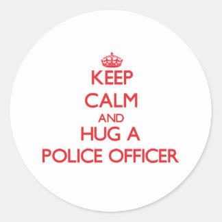 Keep Calm and Hug a Police Officer Sticker