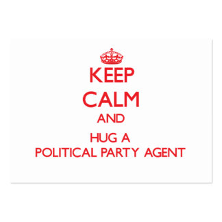 Keep Calm and Hug a Political Party Agent Large Business Cards (Pack Of 100)