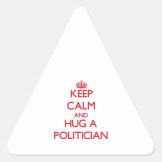 Keep Calm and Hug a Politician Triangle Sticker