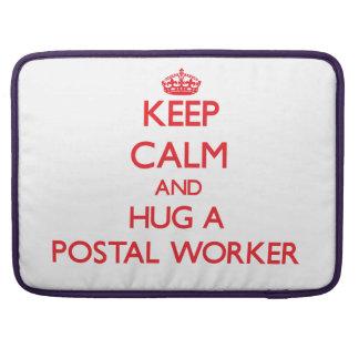 Keep Calm and Hug a Postal Worker Sleeves For MacBooks