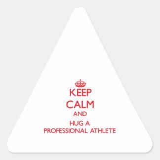 Keep Calm and Hug a Professional Athlete Triangle Sticker
