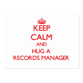 Keep Calm and Hug a Records Manager Business Card Templates