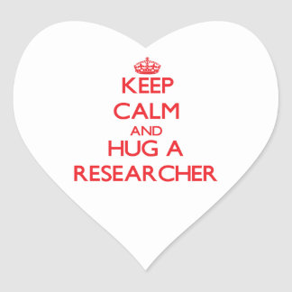 Keep Calm and Hug a Researcher Heart Stickers