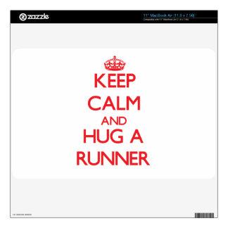 Keep Calm and Hug a Runner Skins For MacBook