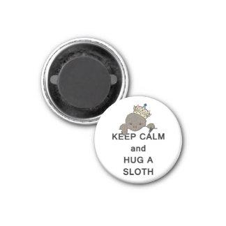 Keep Calm and Hug a Sloth Meme 1 Inch Round Magnet