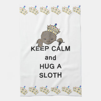 Keep Calm and Hug a Sloth Meme Kitchen Towel