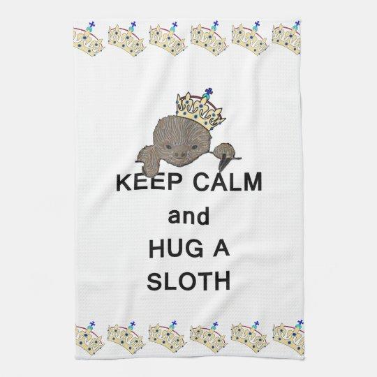 Keep Calm and Hug a Sloth Meme Kitchen Towel